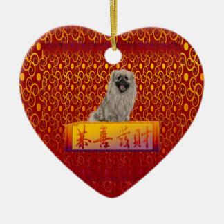 Pekingese Dog on Happy Chinese New Year Ceramic Ornament