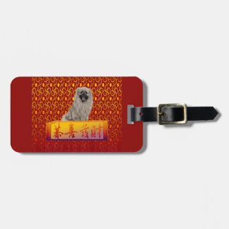 Pekingese Dog on Happy Chinese New Year Luggage Tag