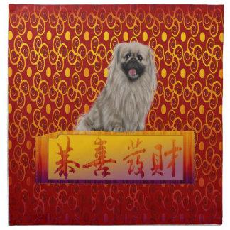 Pekingese Dog on Happy Chinese New Year Napkin