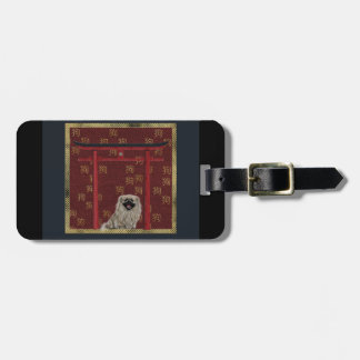 Pekingese Dog, Red Asian Arch, Scattered Sign, Dog Luggage Tag