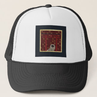 Pekingese Dog, Red Asian Arch, Scattered Sign, Dog Trucker Hat