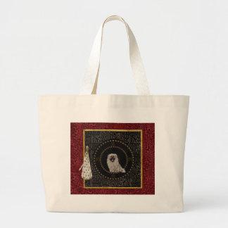 Pekingese Dog, Round Shape, Dog in Chinese, Tassel Large Tote Bag