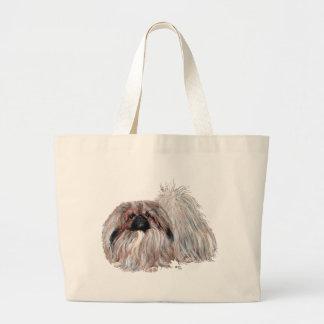 Pekingese Dog Standing Large Tote Bag
