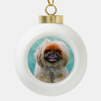 Pekingese Dog Watercolor Art Portrait Ceramic Ball Christmas Ornament