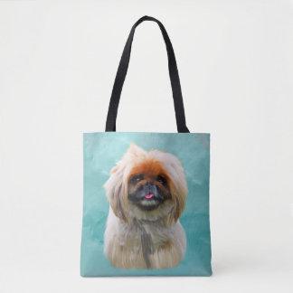 Pekingese Dog Watercolor Art Portrait Tote Bag