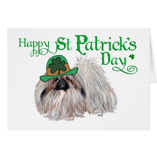 Pekingese Dogs Celebrate St. Patrick's Day Card