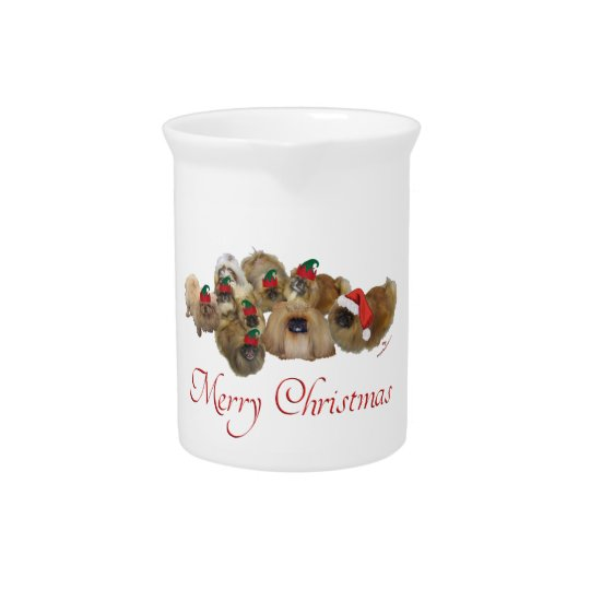 Pekingese Group Christmas Pitcher