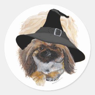 Pekingese Halloween Classic Round Sticker