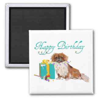 Pekingese in a Party Mood Square Magnet