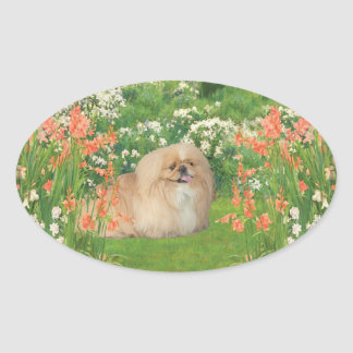 Pekingese in the Garden Oval Sticker