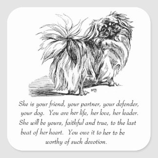 Pekingese Keepsake - FEMALE Square Sticker