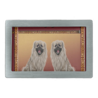 Pekingese on Asian Design Chinese New Year, Dog Belt Buckles