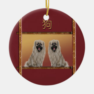 Pekingese on Asian Design Chinese New Year, Dog Ceramic Ornament
