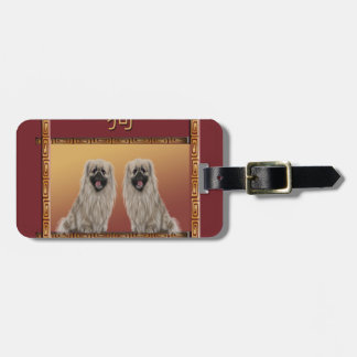 Pekingese on Asian Design Chinese New Year, Dog Luggage Tag