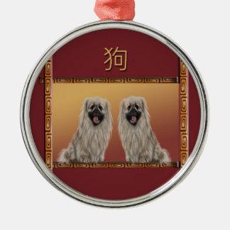 Pekingese on Asian Design Chinese New Year, Dog Metal Ornament