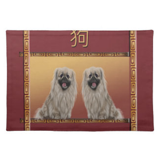 Pekingese on Asian Design Chinese New Year, Dog Placemat
