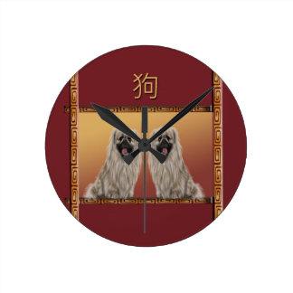 Pekingese on Asian Design Chinese New Year, Dog Round Clock