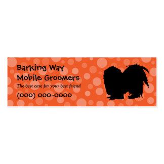 Pekingese Pet Care Orange Double-Sided Mini Business Cards (Pack Of 20)