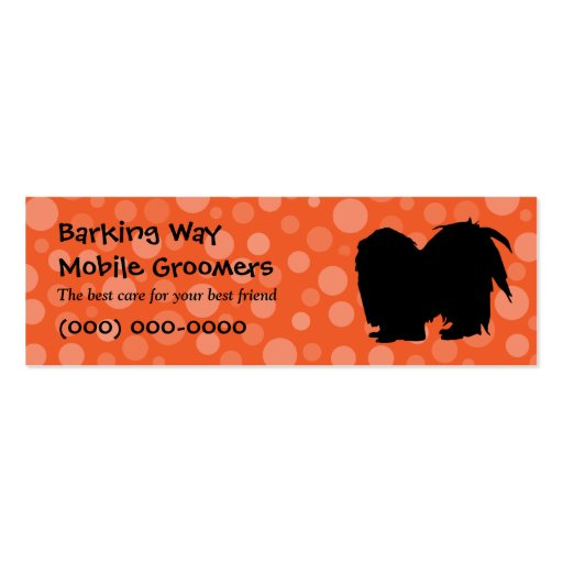 Pekingese Pet Care Orange Business Card Templates
