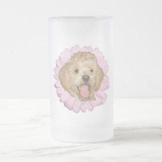 Pekingese / Poodle Mix Springtime Flower Frosted Glass Beer Mug
