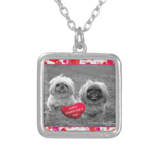 Pekingese Puppies wishing Happy Valentine's Day Silver Plated Necklace