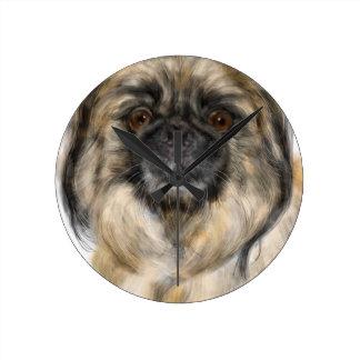 Pekingese Round Clock