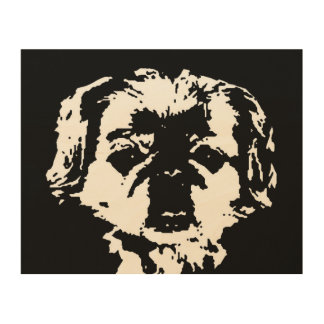 "Pekingese Stencil Wood 10""x8"" Wall Art"