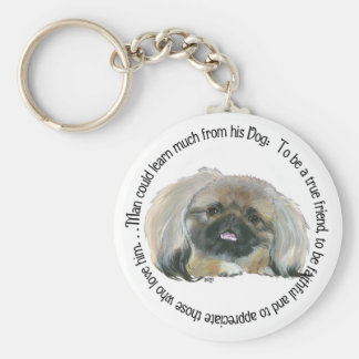 Pekingese Wisdom - Man can learn from his Dog Basic Round Button Keychain