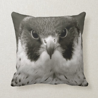 Pelegrine falcon in black and white throw pillow
