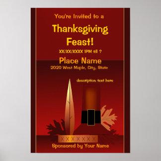 Pèlerin de thanksgiving et affiche indienne de
