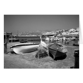 Pelican and Boats (BandW) Card