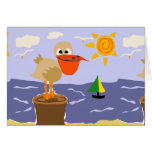 Pelican at the Beach Art Greeting Card