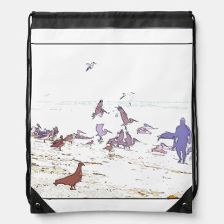 Pelican Birds Wildlife Animals Beach Ocean Cinch Bag