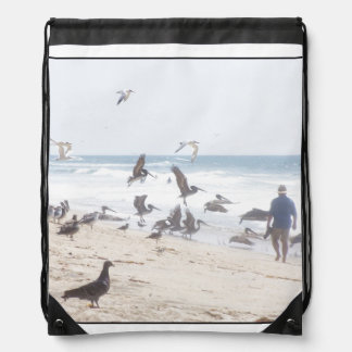Pelican Birds Wildlife Animals Beach Ocean Drawstring Bags