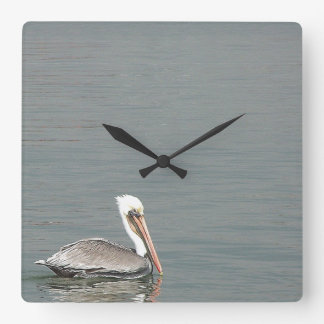 Pelican Birds Wildlife Animals Beach Ocean Square Wall Clock