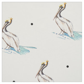 pelican fabric, tropical bird fabric,dotted fabric