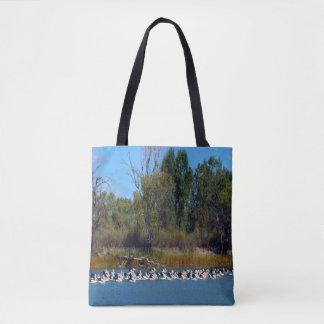 Pelican Fishing Frenzy, Tote Bag