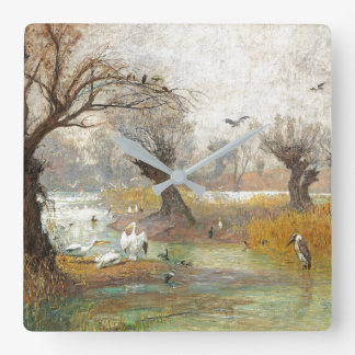 Pelican Heron Duck Birds Wetlands Pond Wall Clock