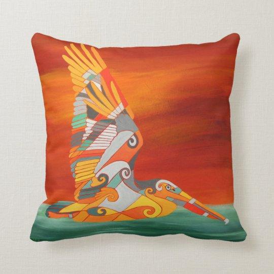 Pelican in Flight Orange and Green Pillow