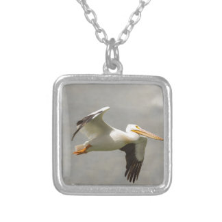 Pelican In Flight Silver Plated Necklace