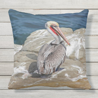 Pelican In  The Ocean Throw Pillow