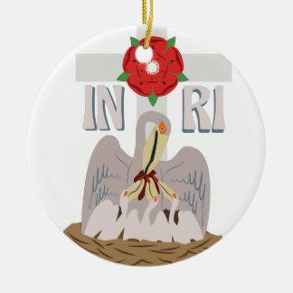 Pelican INRI Round Ceramic Ornament