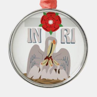 Pelican INRI Silver-Colored Round Ornament