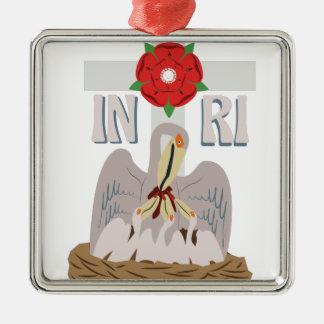 Pelican INRI Silver-Colored Square Ornament