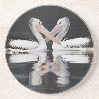 Pelican Love Sandstone Coaster