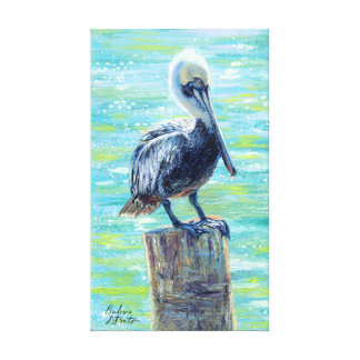 """Pelican on a Pole"" Gallery Wrapped Canvas Print"