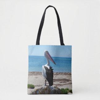 Pelican_On_Beach_Rock,_Full_Print_Shopping_Bag. Tote Bag