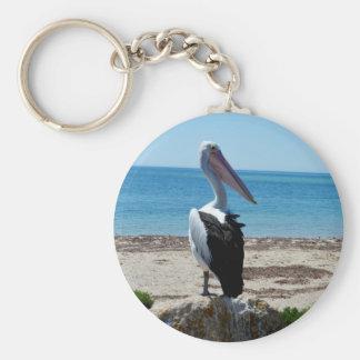 Pelican On Beach Rock, Keychain