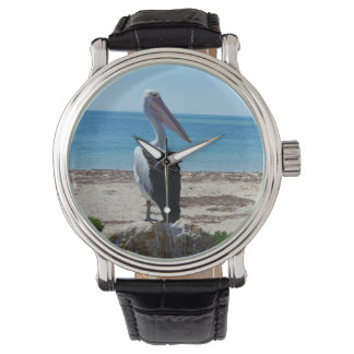 Pelican On Beach Rock, Mens Leather Big Face Watch