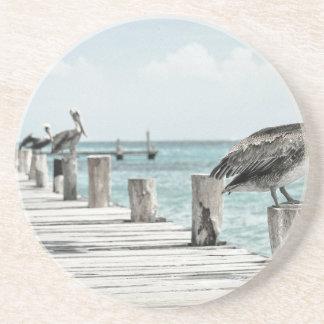 Pelican on Pier Beverage Coaster